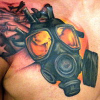 Gas Mask and American Flag Tattoo - Amy Ausiello