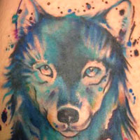 Watercolor Wolf Tattoo - Amy Ausiello