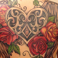 Vintage Heart and Roses Tattoo - Amy Ausiello